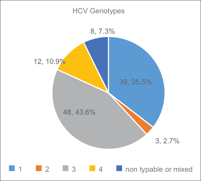 Figure 1: Genotyping of 110 patients with hepatitis C virus polymerase chain reaction-positive testing